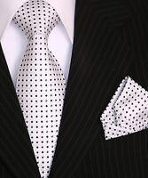Krawatte Krawatten Set mit Einstecktuch Schlips Binder de Luxe Tie 319 Weiß