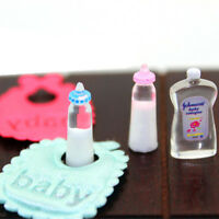 1:12 Dolls House Miniature Baby Bottles Shampoo Bibs Set Nursery Accessory GiftF