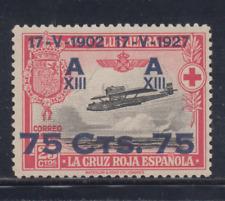 ESPAÑA (1927) NUEVO SIN GOMA MNG - EDIFIL 390 (75 cts + 25 cts) AVION - LOTE 1