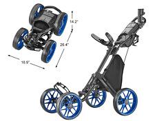 NEW CaddyTek Caddycruiser One V8 One-Click Folding 4 Wheel Golf Push Cart - Blue