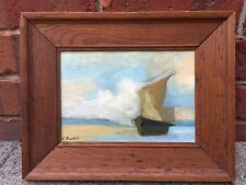 Clarice Beckett Oil Painting of Sailing Boat Beaumauris, Melbourne
