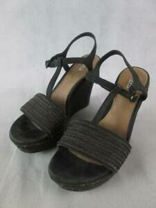 UGG FITCHIE BLACK/BROWN JUTE ANKLE STRAP AND T-STRAP WEDGE SANDAL WOMENS 7.5 EUC