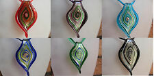 Large Murano Glass Ribbon Necklace in Black Red Green Lilac... 6 Cols Free Box