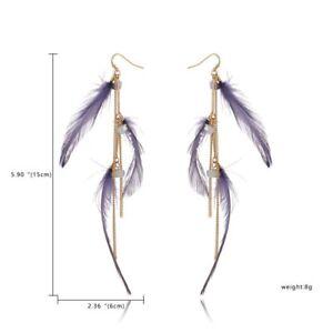 Retro Boho Tassel Leaf Feather Dangle Long Earrings Hook Wedding Bride