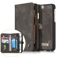 CASEME Retro Split Genuine Leather Multi-slot Wallet Case Cover for iPhone 6s 6