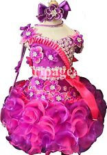 removeble sleevIe nfant/toddler/baby purple pink crystal/stone  Dress 289