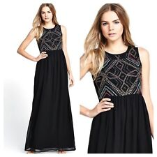 Love Label Black Size 8 Embellished Maxi Gown DRESS Occasion Party Evening Fab