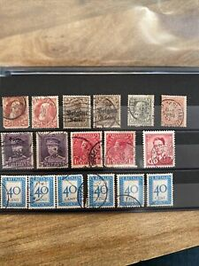 Belgium Stamps Early 1900's, German Occupation, King Leopold, King Baudouin