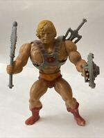 Vintage Mattel He-Man Figure Axe, Shield, Sword & Chest Harness Motu 1982