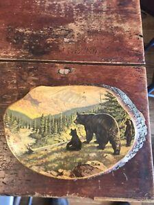 vintage bear painting on wood