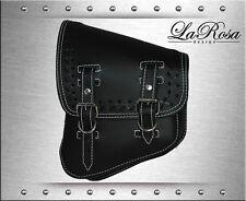 La Rosa Black Leather White Stitching Cross Lace Harley V Rod Left Saddle Bag