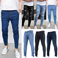 Mens Denim Jeans Distressed Ripped Straight Leg Slim Fit Skinny Pants Trousers