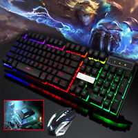 RGB Gaming Computer Keyboard + Wireless Mouse Keys Led Backlit 3 Color