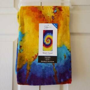 Mainstays Tie Dye Beach Towel, 28 x 60 Inches, Quick Drying 100% Cotton NEW