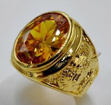 MEN RING YELLOW SAPPHIRE 24K YELLOW GOLD FILLED GP DRAGON SOLITAIRE STONE SZ 9