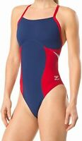 Speedo Women's Swimwear Blue Size 26 One Piece Flyback Swim Suit $79 #878