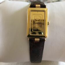 NEW ZITURA WATCH Swiss Solid 24K Gold Dial Leather Strap SWISS BANK CORP