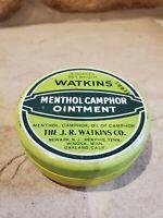Vintage Watkins Menthol Camphor Ointment Tin 5 OZ. J.R. Watkins