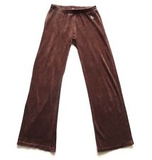 Women's Ladies Vintage 80's Brown Velour Tracksuit Bottoms Retro Boho 12