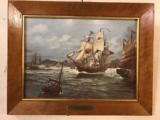 """Vintage Print On Porcelain""""Empress Of China""""Burlwood Frame 10X13.8pix.MAKE OFFER"""