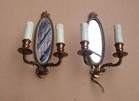 Élégante ancienne paire d'appliques à miroir en bronze - Etat de marche