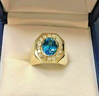 Oval Cut Blue Topaz Diamond Men's Halo Engagement Ring 14k Yellow Gold Over 2 ct