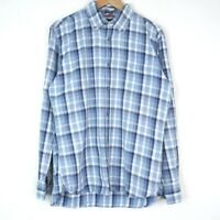Tommy Hilfiger Custom Fit Button Up Check Mens Shirt Size Medium Blue