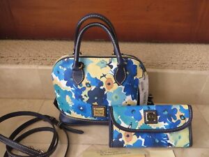 Dooney & Bourke Pansy Bitsy Bag Matching Wallet Floral Print Blue Green NWTS