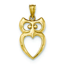 14K Yellow Gold Owl Charm Pendant MSRP $152