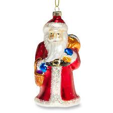 SIKORA BS379 Adorno de Árbol de Navidad Decoración Vidrio Colorido - Papá Noel