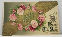 Happy New Year 1911 Embossed Pink Chrysanthemums Gold Gilded Winsch Postcard G15