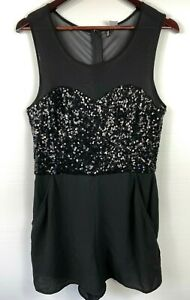 H&M DIVIDED ~ Size 16 ~ Women's Black Shear Sequinned Romper Shorts Party Pocket