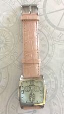 PIERRE CARDIN SILVER WOMEN'S WATCH SQUARE DIAL PC3078WWP PINK LEATHER BAND NEW!