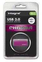 Integral 8GB CHROMA USB 3.0 Capless Flash Drive in Pink. INFD8GBCHR3.0PK