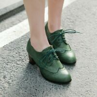 Womens Retro Brogue Shoes Lace Up Midi High Chunky Heels Wing Tip Oxfords Shoes