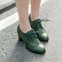 Retro Brogues Lace Up Shoes Block Midi High Oxfords Women Round Toe Plus Size