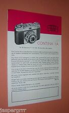 1950s ZEISS IKON CAMERA & PHOTOGRAPHY ACCESSORIES BROCHURE ADVERTISMENT.
