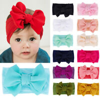 Solid Hair Band Bow Kids Toddler Baby Girls Headband Headwear Turban Accessories