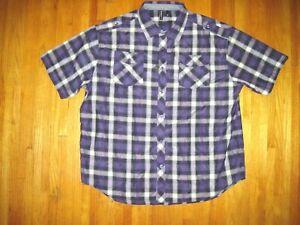 Big & Tall Men's Seventy 7 Purple/White Plaid Button Front Casual Shirt 5XL NWT