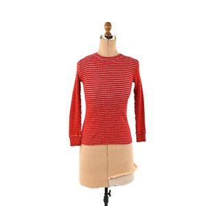 Vintage 70s Red + Black Striped Ribbed Long Sleeve Retro Hippie Fitted Shirt S