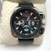 Diesel Men's DZ7345 Bamf Men's Wrist Watch Silver Black Leather Strap Oversized