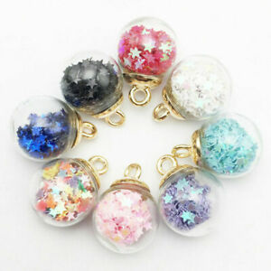 10Pcs Christmas Crystal Glass Ball DIY Pendant Necklace Earring Findings Charms*