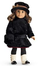 NIB American Girl Rebecca Luxurious Black Faux Fur Winter Coat and Muff Set NEW!