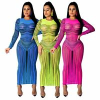 Women New Fashion Long Sleeve Mesh Perspective Print Club Party Casual Dress
