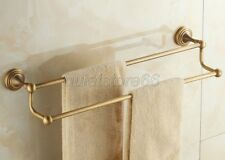 Bathroom Accessory Antique Brass Wall Mounted Double Towel Bar Holder qba028