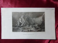 Antique engraving of VIEW NEAR FRESHWATER BAY, ISLE OF WIGHT c1830 Veduta PRINT