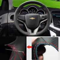 For Chevrolet Cruze Steering Wheel Hand-stitch on Wrap Cover Top Black Leather