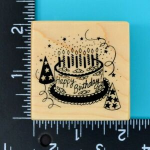 PSX Happy Birthday Cake E-154 Candles Party Hats Wood Mounted Rubber Stamp 1987