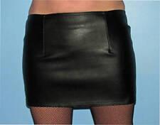 Black fake leather mini skirt 16ins long sz 8-24