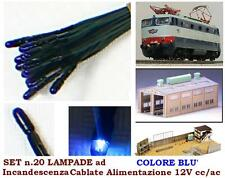 SET N.10 LAMPADINE a BULBO MM.03 con CAVO LUCE BLU' 12V per SCALA-N e SCALA-HO